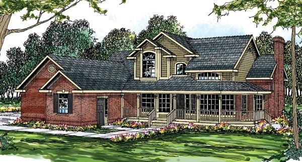 Country European Farmhouse Traditional House Plan 69261 Elevation