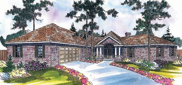 One-Story, Traditional House Plan 69297 with 3 Beds, 2 Baths, 2 Car Garage Elevation