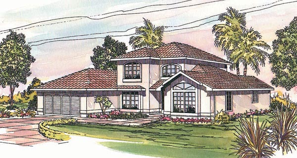 Mediterranean, Southwest House Plan 69331 with 3 Beds, 2.5 Baths, 2 Car Garage Elevation
