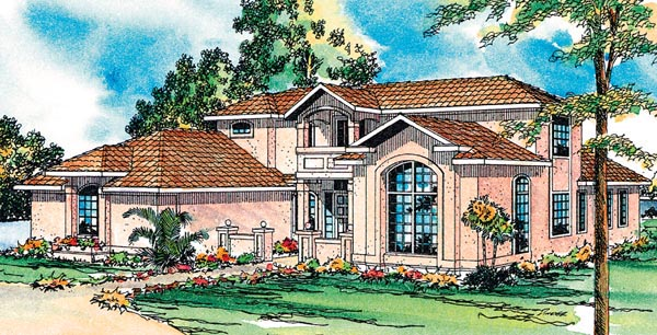 Contemporary, Florida, Mediterranean, Southwest House Plan 69345 with 3 Beds, 3.5 Baths, 2 Car Garage Elevation