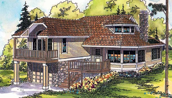 Craftsman, Traditional House Plan 69354 with 1 Beds, 2 Baths, 1 Car Garage Elevation
