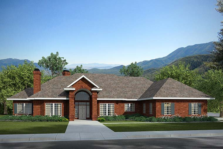 Traditional House Plan 69355 with 3 Beds, 3.5 Baths, 2 Car Garage Elevation