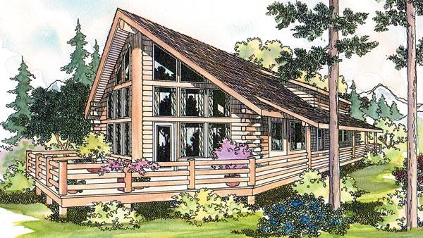 Cabin Cottage Log House Plan 69360 Elevation