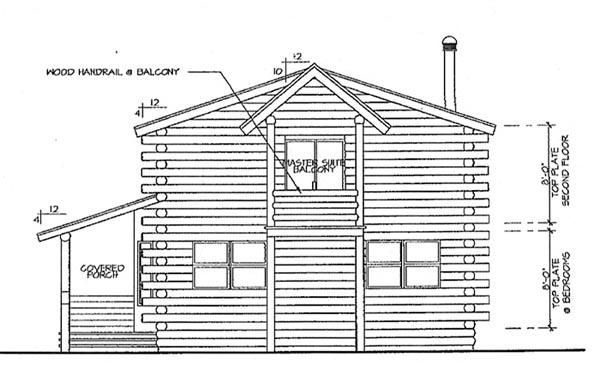 Cabin Cottage Log House Plan 69360 Rear Elevation