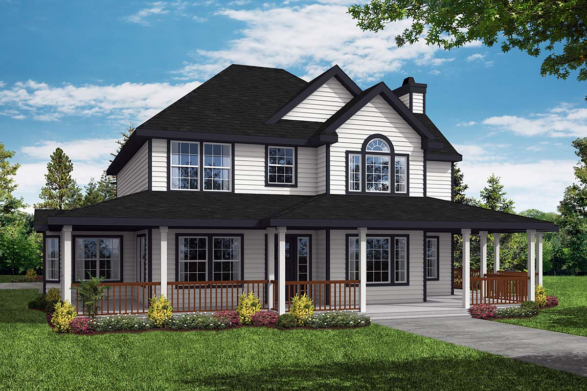Country, Farmhouse House Plan 69384 with 3 Beds, 3 Baths, 2 Car Garage Elevation