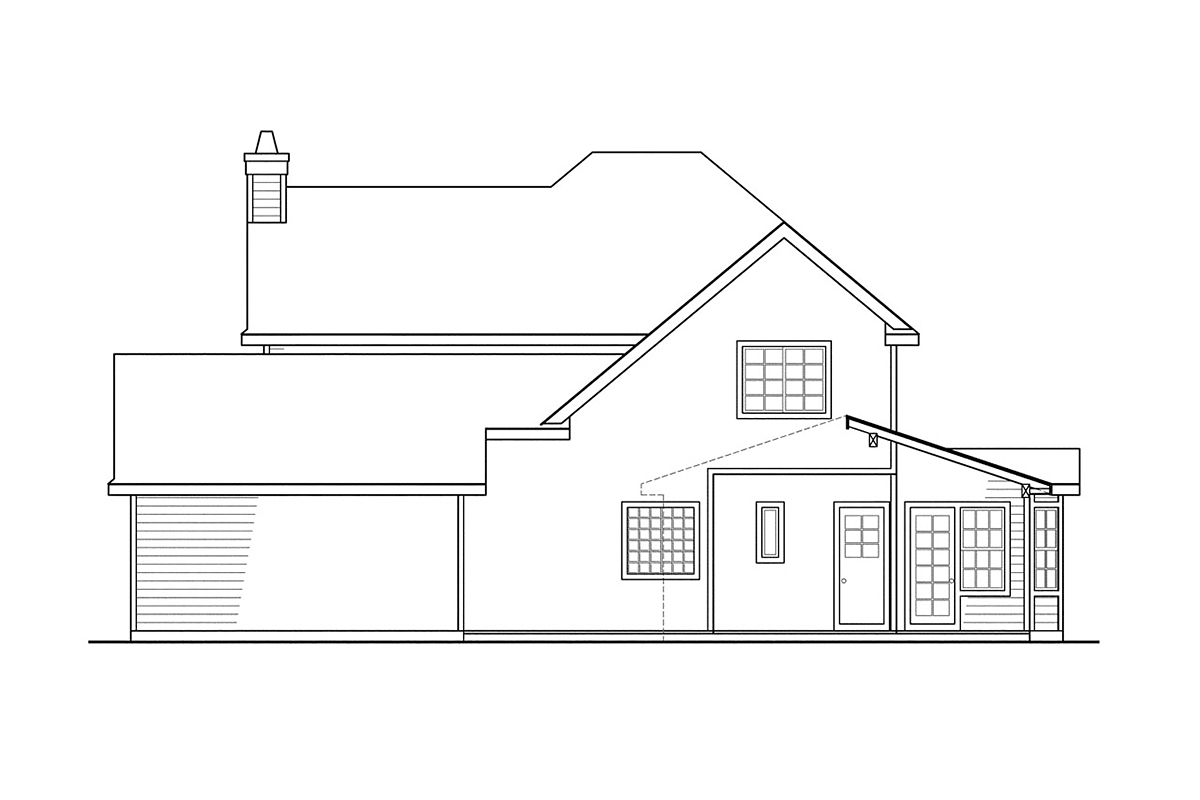 Country, Farmhouse House Plan 69384 with 3 Beds, 3 Baths, 2 Car Garage Rear Elevation