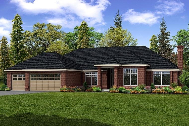 Southwest House Plan 69388 with 3 Beds, 2.5 Baths, 3 Car Garage Elevation
