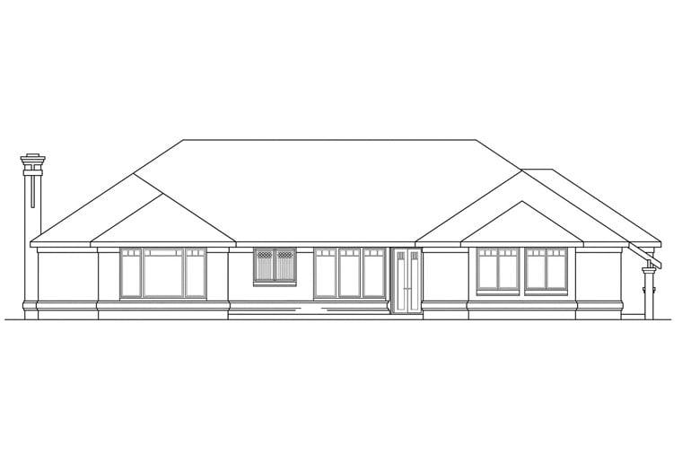Southwest House Plan 69388 with 3 Beds, 2.5 Baths, 3 Car Garage Rear Elevation
