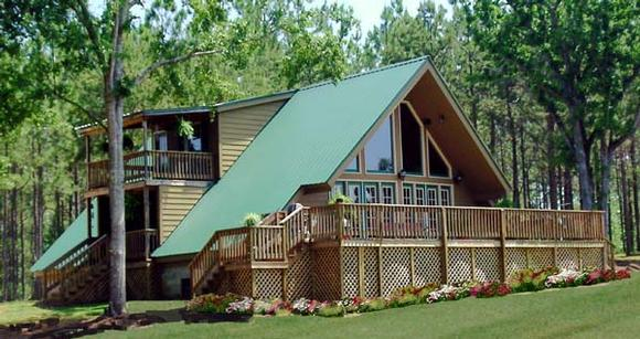 A-Frame, Contemporary House Plan 69504 with 3 Beds, 2 Baths Elevation
