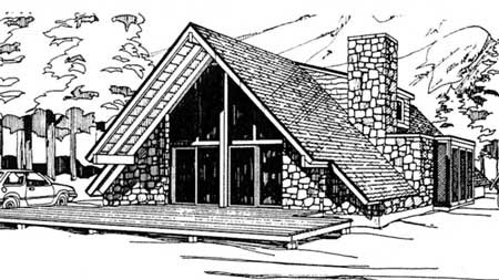 A-Frame, Contemporary House Plan 69504 with 3 Beds, 2 Baths Picture 8