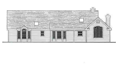 Ranch Traditional House Plan 69516 Rear Elevation