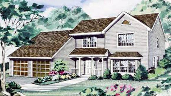 Contemporary House Plan 69519 with 4 Beds, 3 Baths, 2 Car Garage Elevation