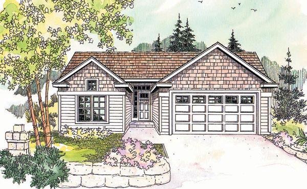 One-Story, Ranch House Plan 69611 with 3 Beds, 2 Baths, 2 Car Garage Elevation