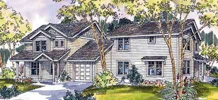 Contemporary Multi-Family Plan 69652 with 6 Beds, 5 Baths, 2 Car Garage Elevation