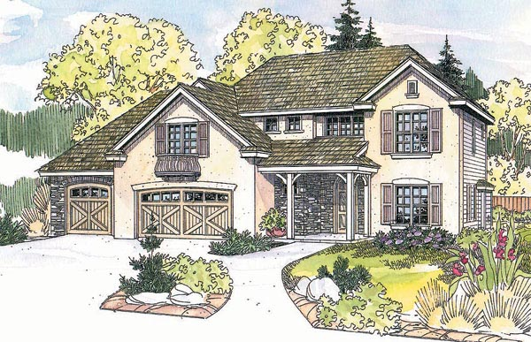 European Tudor House Plan 69691 Elevation