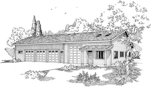 Elevation of Traditional   Garage Plan 69764
