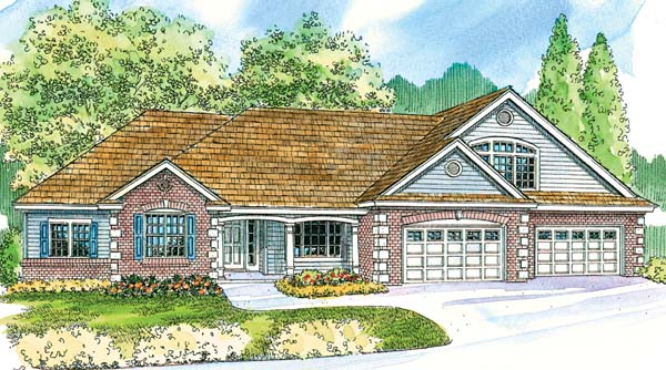 Contemporary, Country, Craftsman, Traditional House Plan 69778 with 3 Beds, 3 Baths, 4 Car Garage Elevation