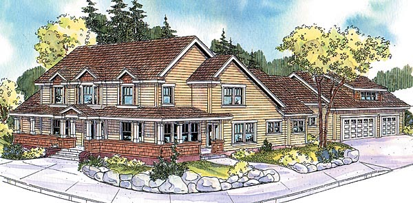 Country Craftsman Farmhouse House Plan 69798 Elevation