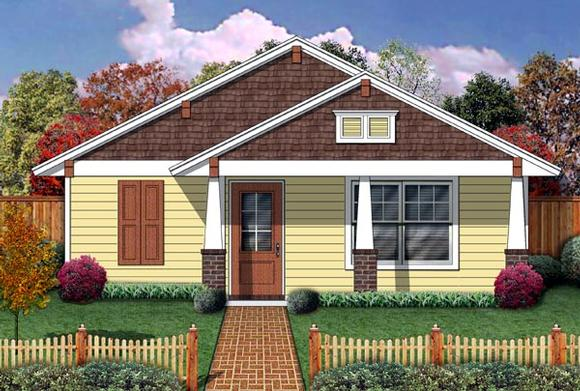 Cottage, Craftsman House Plan 69937 with 1 Beds, 1 Baths Elevation