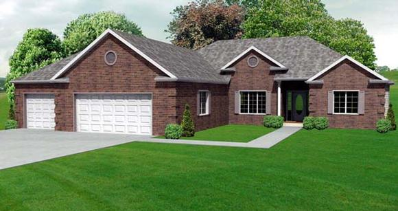 Traditional House Plan 70112 with 3 Beds, 3 Baths, 3 Car Garage Elevation