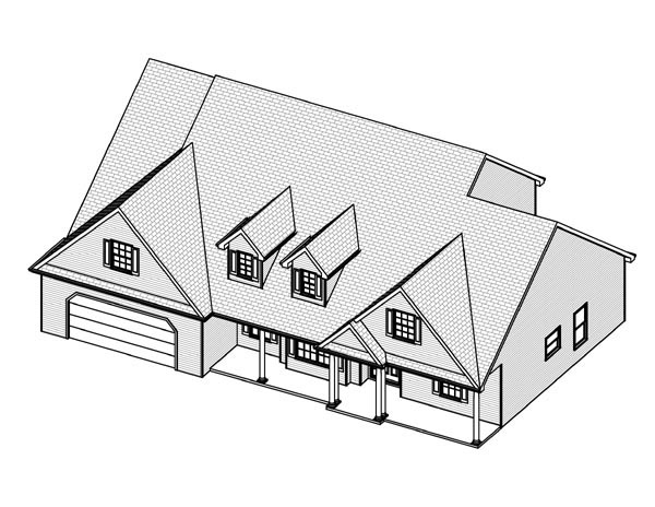 Cape Cod House Plan 70132 with 3 Beds, 3 Baths, 2 Car Garage Picture 1