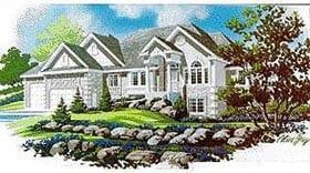 Colonial House Plan 70493 with 2 Beds, 2 Baths, 3 Car Garage Elevation