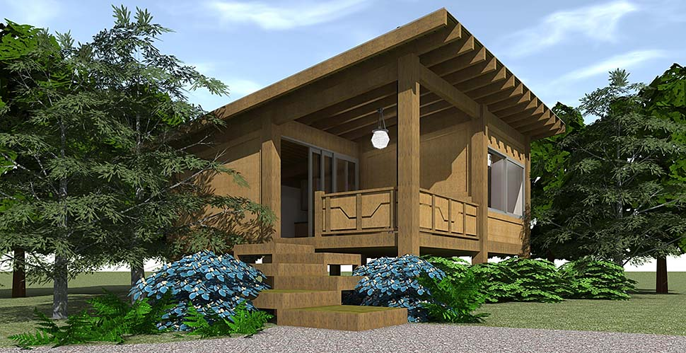 House Plan 70800 Cabin Style With 456 Sq Ft 1 Bed 1 Bath