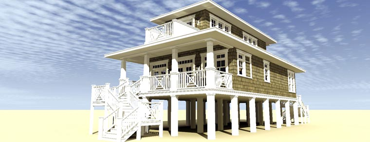 Coastal Craftsman House Plan 70806 Rear Elevation