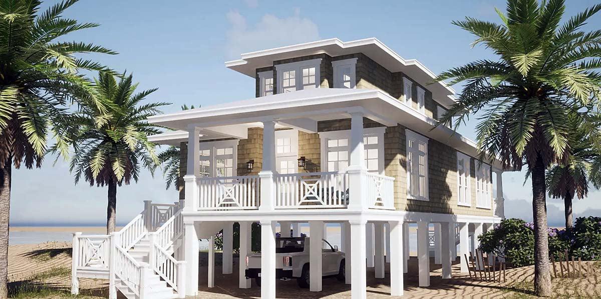Coastal Craftsman House Plan 70826 Elevation