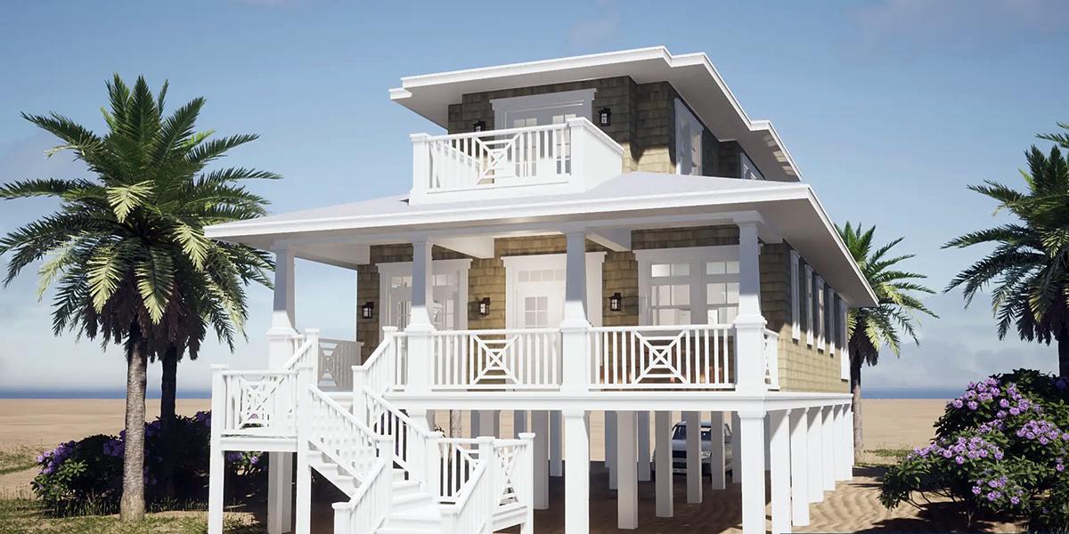 Coastal Craftsman House Plan 70826 Rear Elevation