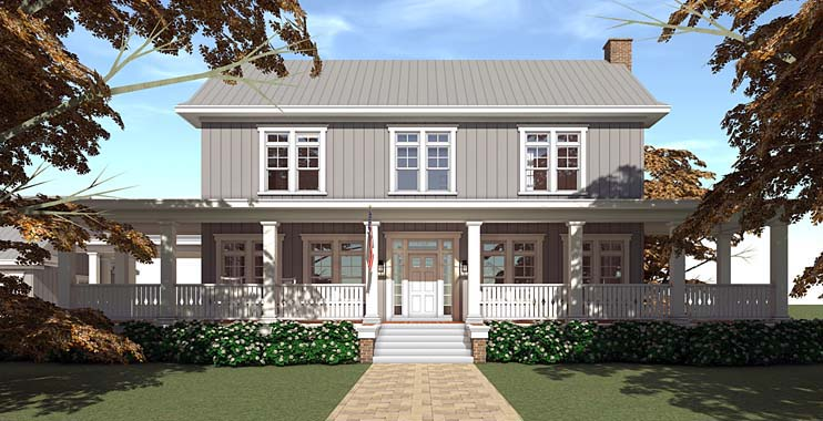 Country Farmhouse Southern Traditional House Plan 70831 Elevation