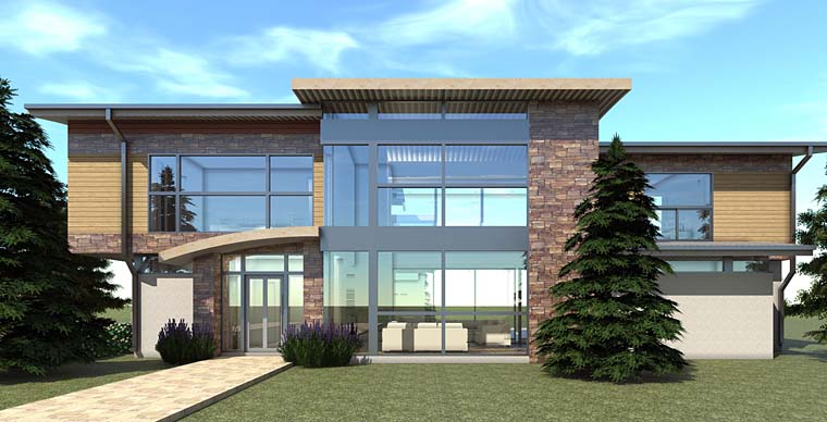 Modern House Plan 70837 with 6 Beds, 7 Baths, 3 Car Garage Elevation