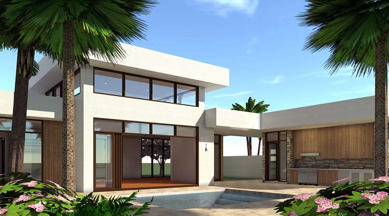 Modern House Plan 70844 with 4 Beds, 2 Baths, 2 Car Garage Picture 1