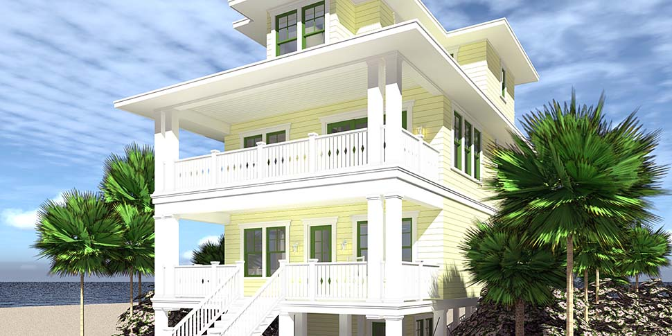 Coastal House Plan 70853 with 4 Beds, 4 Baths, 4 Car Garage Picture 1