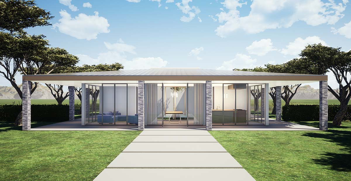 Coastal, Contemporary, Modern House Plan 70857 with 3 Beds, 2 Baths Elevation