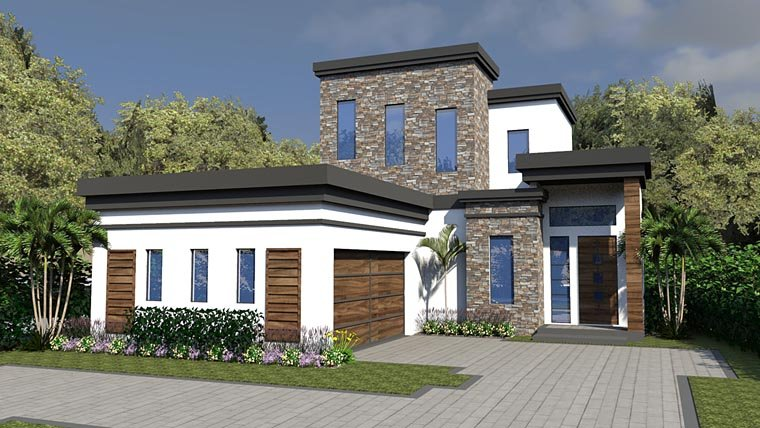 Contemporary, Modern House Plan 71545 with 3 Beds, 4 Baths, 2 Car Garage Elevation