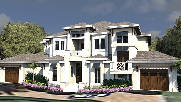 Coastal, Contemporary, Florida House Plan 71549 with 5 Beds, 7 Baths, 3 Car Garage Elevation