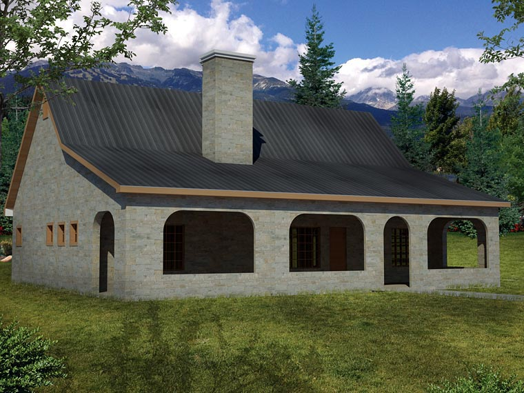 Cottage, Country, European, Ranch House Plan 71915 with 3 Beds, 2 Baths Rear Elevation