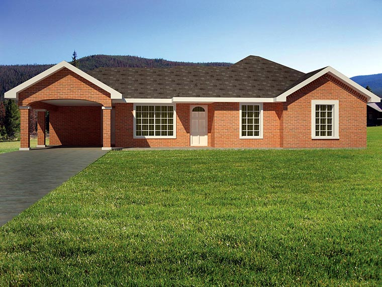 Ranch, Southwest House Plan 71934 with 3 Beds, 2 Baths, 1 Car Garage Elevation