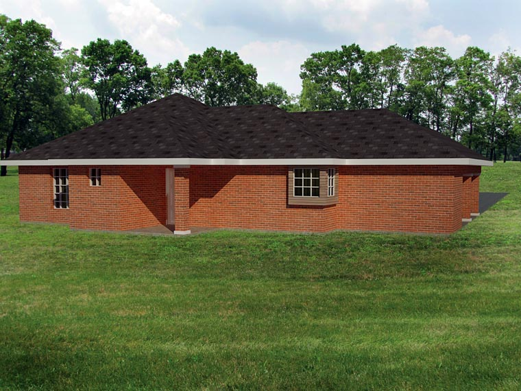Ranch, Southwest House Plan 71934 with 3 Beds, 2 Baths, 1 Car Garage Rear Elevation