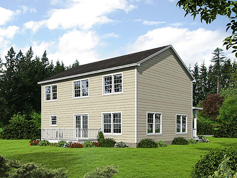 Country, Farmhouse, Traditional House Plan 71941 with 4 Beds, 4 Baths, 2 Car Garage Rear Elevation