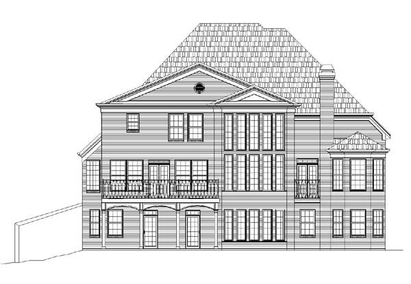 European Greek Revival House Plan 72002 Rear Elevation