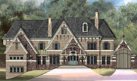 European, Greek Revival, Tudor, Victorian House Plan 72014 with 5 Beds, 6 Baths, 5 Car Garage Elevation