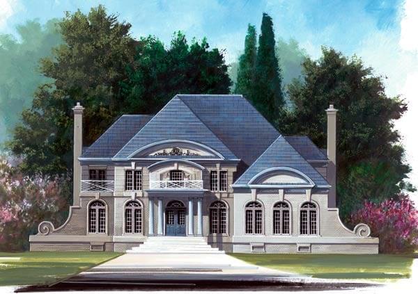 Colonial European Greek Revival Tudor House Plan 72037 Elevation
