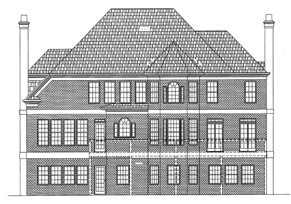 Colonial European Greek Revival Tudor House Plan 72037 Rear Elevation