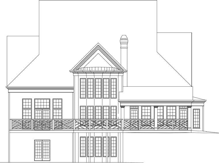 Greek Revival Tudor House Plan 72058 Rear Elevation