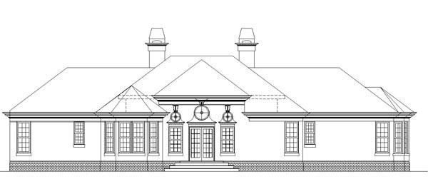 European Traditional House Plan 72069 Rear Elevation