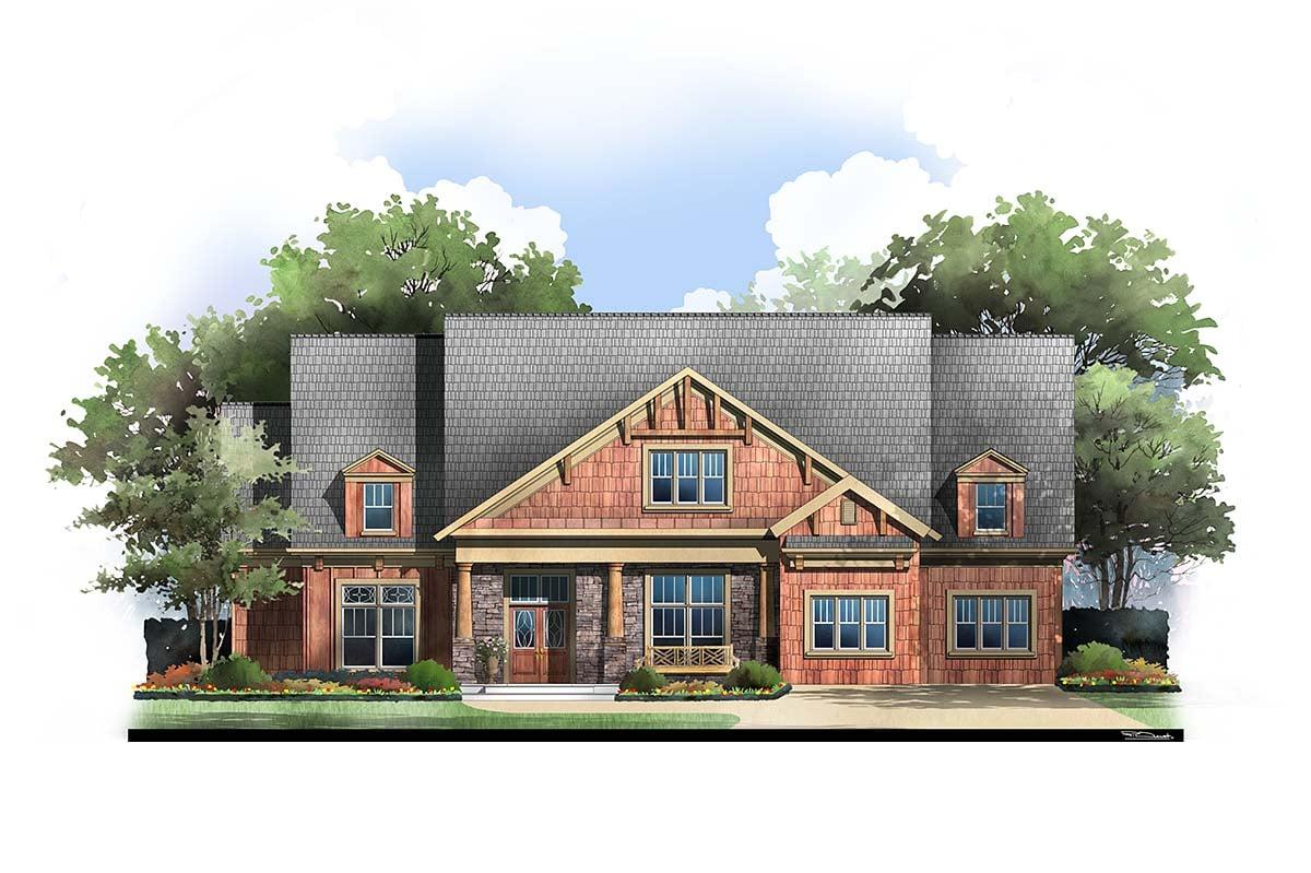 Craftsman House Plan 72076 with 4 Beds, 3 Baths, 2 Car Garage Elevation