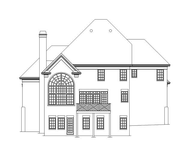 European Tudor House Plan 72079 Rear Elevation