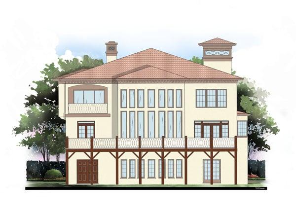 Greek Revival Mediterranean House Plan 72095 Rear Elevation